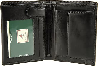 Visconti Mens Top Grade Italian Leather Wallet For Credit Cards, Banknotes & Coins - MZ3 (Black)
