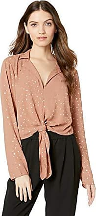 BCBGeneration Womens TIE Front Long Sleeve Woven TOP, Dusty Pink, M