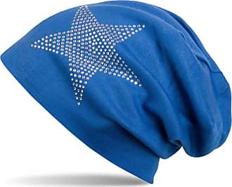 styleBREAKER Warm Beanie hat with Star Rhinestone Application, Unisex 04024023, Color:Royal Blue