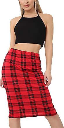 New Ladies Tartan Check Print Elasticated Stretch Pleated Midi Skirt 16-30