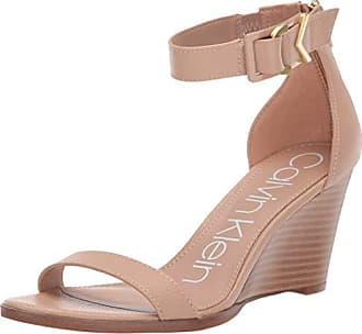 e2f4d8cefd Calvin Klein Womens Wilhelmina Wedge Sandal, Desert Sand, 7 M US