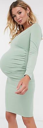 Queen Bee Maternity sweetheart neckline long sleeve midi bodycon dress in sage-Green