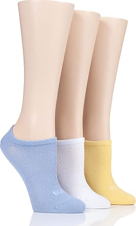 Girls 3 Pair Young Elle Blue Spots /& Stripe Trainer Socks