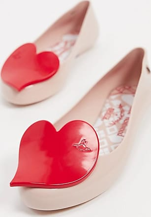 Vivienne Westwood heart flat shoes in blush-Beige