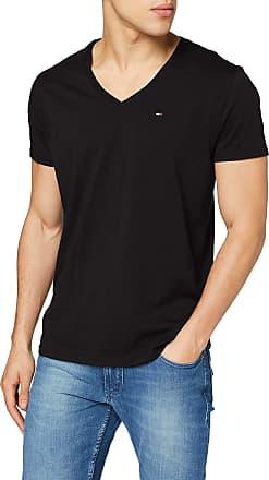 Tommy Jeans Mens Original Jersey Short Sleeve V-Neck T-Shirt, Black (Tommy Black 078), Medium