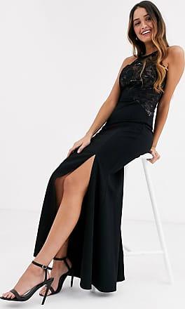 Lipsy Vestito lungo accollato con top in pizzo nero