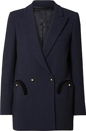 Blazé Milano Everyday Double-breasted Velvet-trimmed Wool-crepe Blazer - Midnight blue