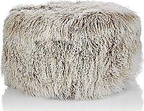 Barneys New York Tibetan Lamb Fur Round Ottoman - Lt Gray