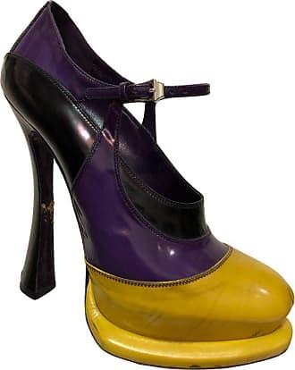 f5a6e2731fc Prada Canary Yellow Purple   Black Fetish-style Platform Mary Jane Heels
