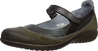 1d42a17151edf3 Naot Womens Kirei Mary Jane Flat Oily Olive Suede Vintage Smoke Black Pearl  Leather