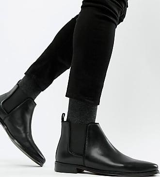 0ad44fc76a31fc Asos Chelsea-Stiefel aus schwarzem Leder mit schwarzer Sohle - Schwarz