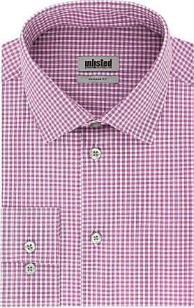 Unlisted by Kenneth Cole Mens Check Dress Shirt, Raspberry, 16-16.5 Neck 36-37 Sleeve (Large)