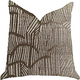 Plutus Brands Metallic Bronze Double Sided King Luxury Throw Pillow 20 x 36 Gold/Beige