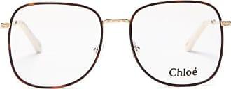 Chloé Squared Filligree-engraved Metal Glasses - Womens - Tortoiseshell