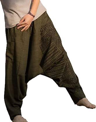Hellomiko Mens Loose Hip Hop Harem Pants,Ethnic Style Wide Leg Print Casual Trousers Green