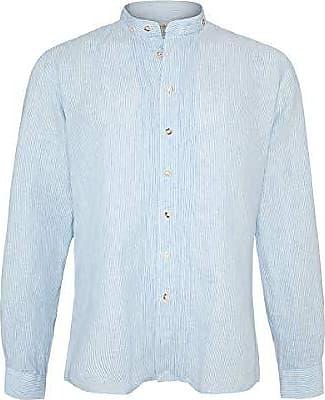 5009-BLUE Green, Almsach Herren Trachten Leinenhemd Stehbund Slim gestreift blau gr/ün