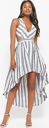Forever 21 Forever 21 Striped High-Low Linen Dress Navy