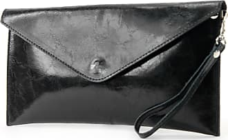 modamoda.de ital. Leather bag Clutch underarm bag Evening bag Wrist bag Wrist bag Smooth leather T106G, Colour:black