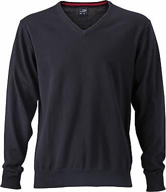 James & Nicholson JN659 Mens V Neck Pullover Jumper Black Size XL
