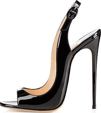 EDEFS Womens Peep Toe 120mm High Heels Sandal Open Toe Slingback Sandals Party Dress Shoes Black EU36