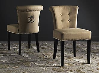 Safavieh Mercer Collection Sinclair Taupe Espresso Linen Ring Dining Chair (Set of 2)