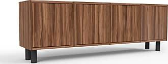 MYCS Sideboard Nussbaum - Designer-Sideboard: Türen in Nussbaum - Hochwertige Materialien - 156 x 53 x 35 cm, Individuell konfigurierbar