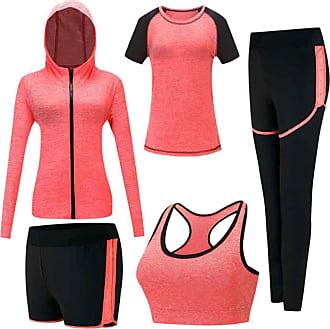 Inlefen Womens Tracksuits Sets Sportsuit Set Soft Comfy Quick-Drying Jogging Workout Sweatsuit Ladies Sportwear Sets Yoga Clothing 5 Piece Set Sports Bra,T-Sh