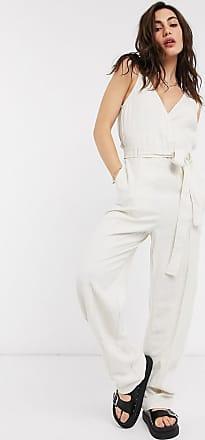 Object wrap jumpsuit in beige