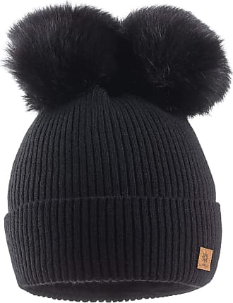 morefaz Women Ladies Winter Beanie Hat Knitted Chunky with Double Faux Fur Pom Pom (Black)