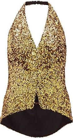 Halpern Sequinned Halterneck Top - Womens - Gold