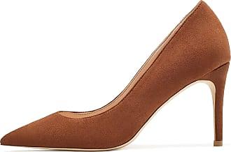 EDEFS Womens Closed Toe Court Shoes High Heel Pumps Slip On Suede Dress Shoes Brown EU45/UK10.5