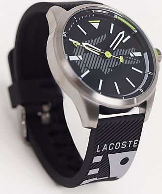 Lacoste black dial watch with black strap
