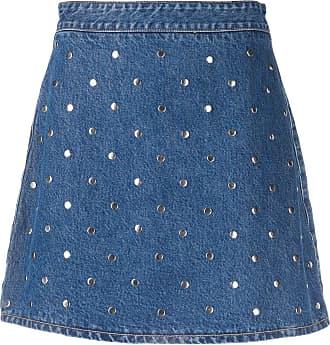 Ganni Saia jeans com tachas - Azul
