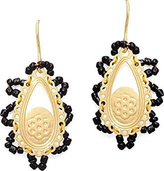 Tinna Jewelry Brinco Renda Miçanga (Preto, Dourado)