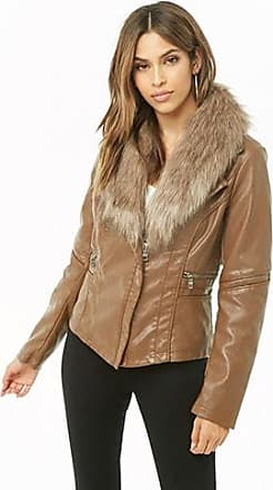 93fb6a55d0f1e Forever 21 Forever 21 Faux Leather & Fur Collar Jacket, Camel/brown