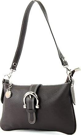 modamoda.de Italian handbag shoulder bag tote bag messenger bag real leather bag T05, Colour:Dark Chocolate