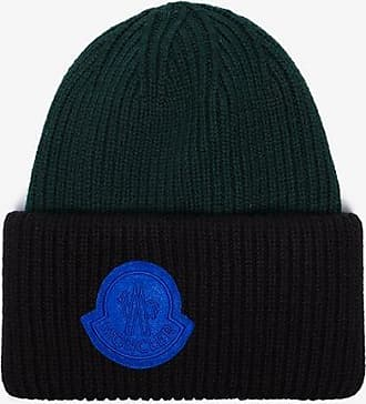 Moncler black and forest green virgin wool beanie hat 5634a5e65b7