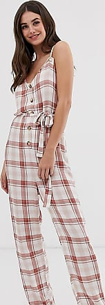 Asos Tall ASOS DESIGN Tall casual check jumpsuit with rope straps and button front-Multi