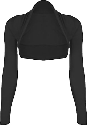 ZEE FASHION Runway Splash New Womens Ladies Long Sleeve Bolero Shrug Cardigan Sleeved TOP Size 8-10-12-14[Black,M/L (12-14)]