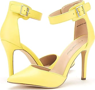 Dream Pairs Womens Pointed Toe Ankle Strap High Heel Stiletto Dress Court Shoes Oppointed-Ankle Yellow Size 9.5 US / 7.5 UK