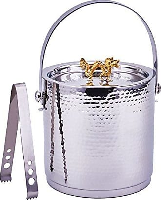 Old Dutch International Dragon Handle Hammered Ice Bucket with Lid And Ice Tong, Stainless Steel