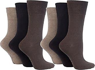 SockShop 6 Pairs Mens Sock Shop Non Elastic 6-11 Cotton Socks Browns