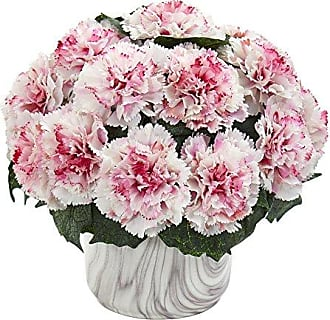 Nearly Natural 1653-WM Carnation Artificial Marble Finished Vase Silk Arrangements White/Mauve