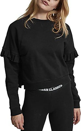 d62bc72a45d9f8 Urban Classics Damen Ladies Oversize Volant Crewneck Pullover, Schwarz  (Black 00007), X