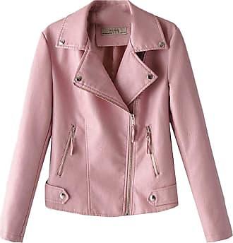 VITryst Womens Regular-Fit Oblique Zipper Patent Leather PU Moto Jacket Coat Outerwear,Pink,X-Small