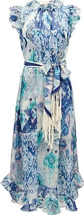 Zimmermann Glassy Ruffled Ikat-print Cotton-blend Midi Dress - Womens - Blue Print