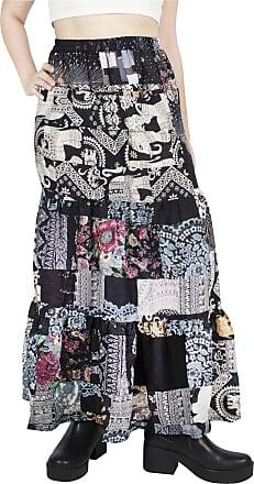 Lofbaz Long Maxi Skirts for Women Boho Gypsy Dress Bohemian Hippie Dresses African Clothing Womens Indian Wrap Skirt Plus Black One Size