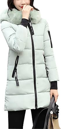 ZongSen Womens Student Big Collar Down Jacket Slim Fit Middle-Long Fashion Cotton Coat Green XL