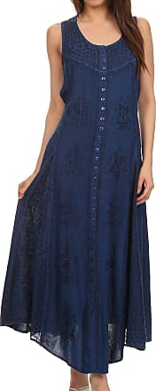 Sakkas 15230 - Beverlee Embroidered Button Down Sleeveless Caftan Dress - Navy - S/M