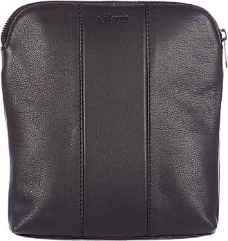 7d9e2730b37c Armani Jeans mens leather cross-body messenger shoulder bag vintage black